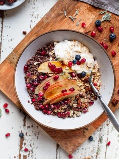 overhead photo of apple cinnamon breakfast grain bowl