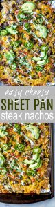 The Ultimate Cheesy Sheet Pan Steak Nachos with layers of cheese, steak, veggies and a drizzle of cilantro lime crema. These epic nachos make the perfect fun weeknight dinner or game day appetizer! #glutenfree