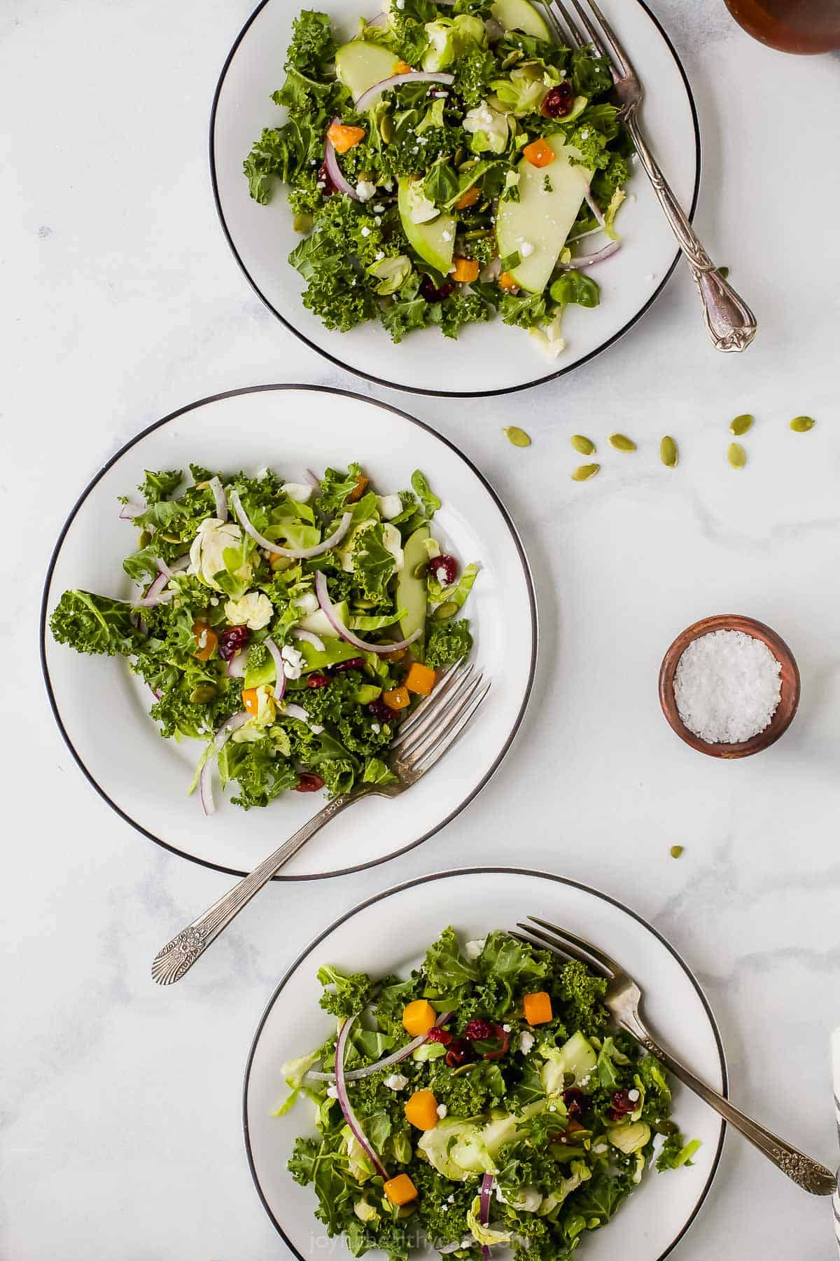 cranberry apple brussel sprout salad on plates