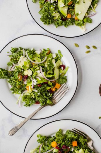 Cranberry Apple Brussel Sprout Salad on a plate