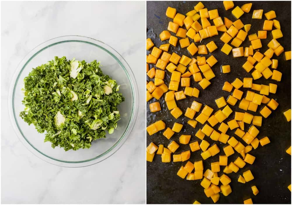 raw kale and brussels sprouts with roasted butternut squash