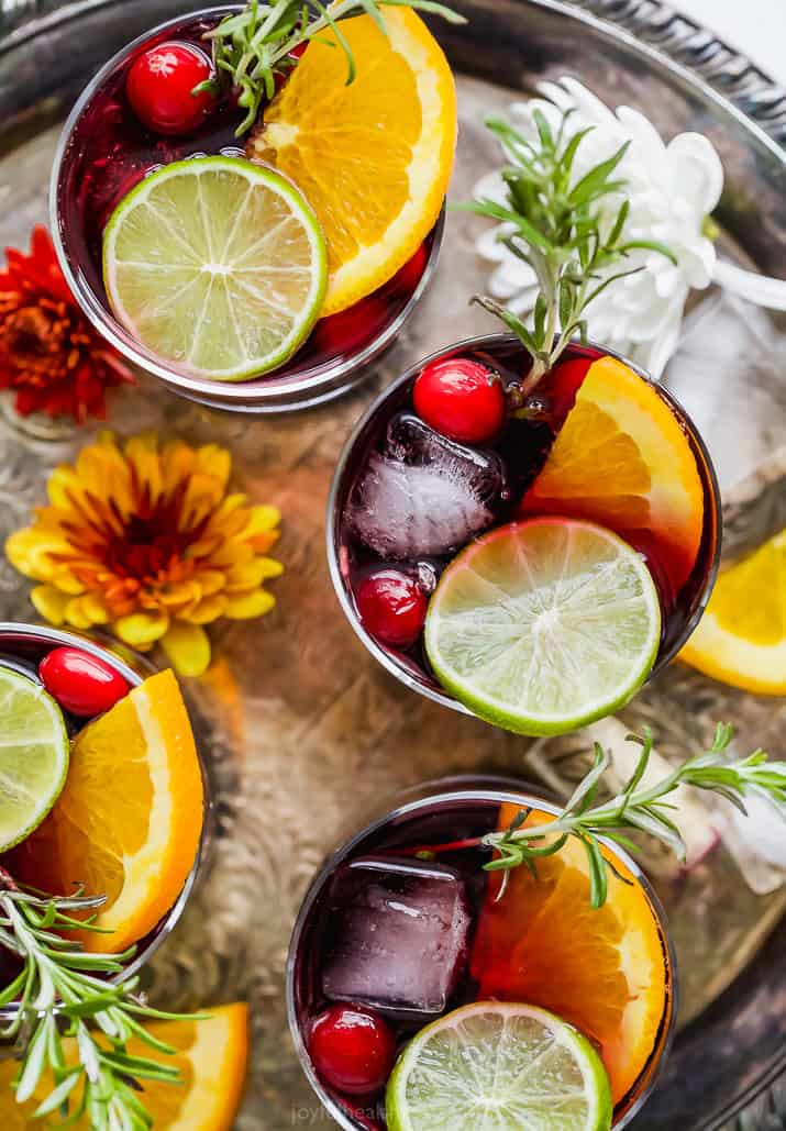 overhead photo of holiday cranberry sangria