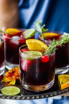 photo of holiday cranberry sangria on a serving tray