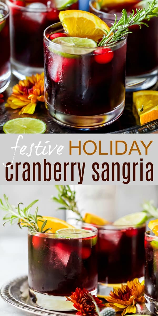 pinterest pin of festive holiday cranberry sangria