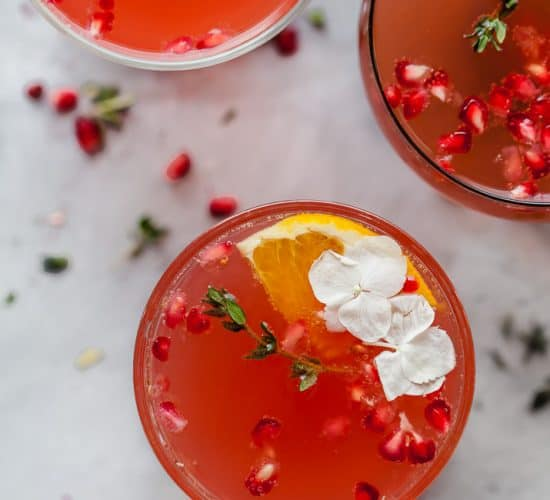 overhead photo of holiday pomegranate gin cocktail