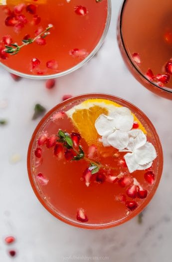 overhead photo of pomegranate gin cocktail