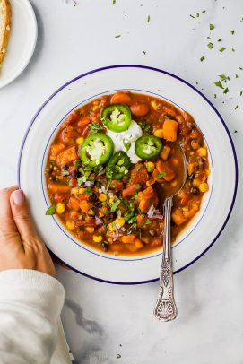 Bowl of Instant Pot Sweet Potato Black Bean Chili