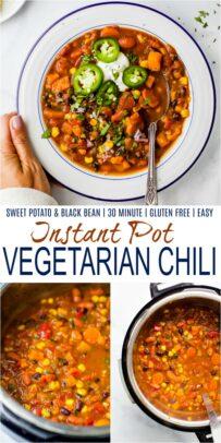pinterest image for instant pot vegetarian chili recipe