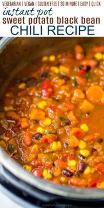 pinterest image for instant pot sweet potato black bean chili