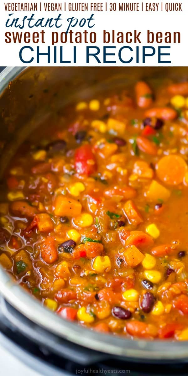 pinterest image for instant pot sweet potato black bean chili