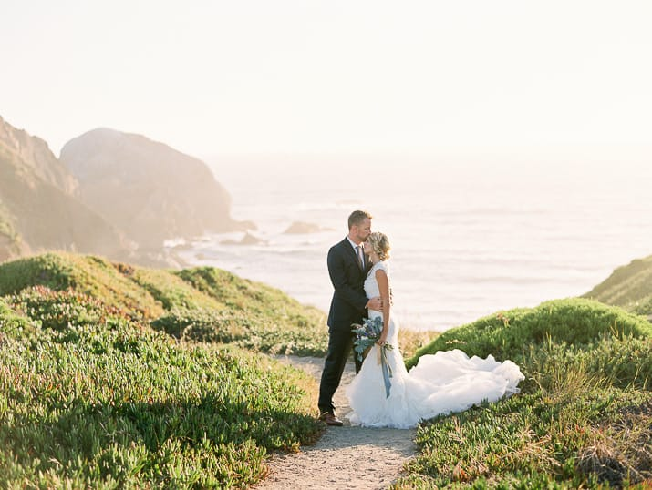 Bride and Groom outdoor photo near the ocean