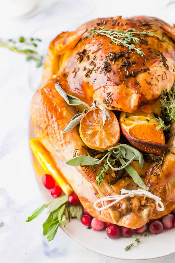 side photo of garlic herb roasted thanksgiving turkey recipe
