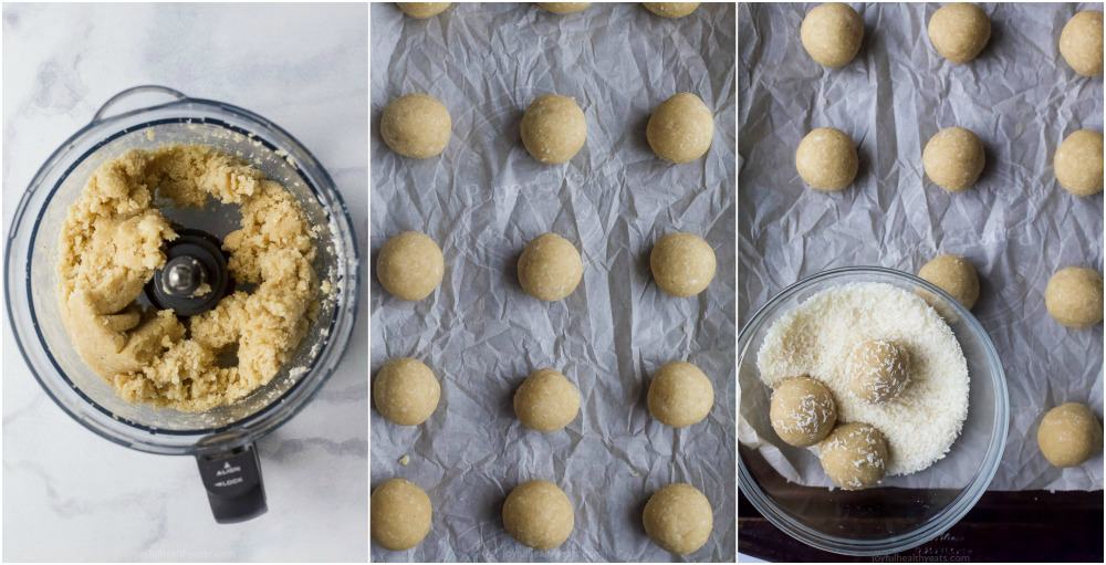 process photos of gluten free almond snowball cookies being made