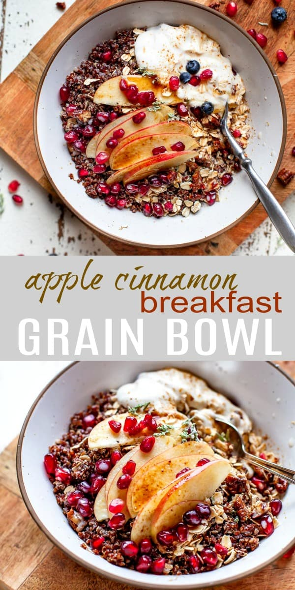 pinterest pin of apple cinnamon breakfast grain bowl