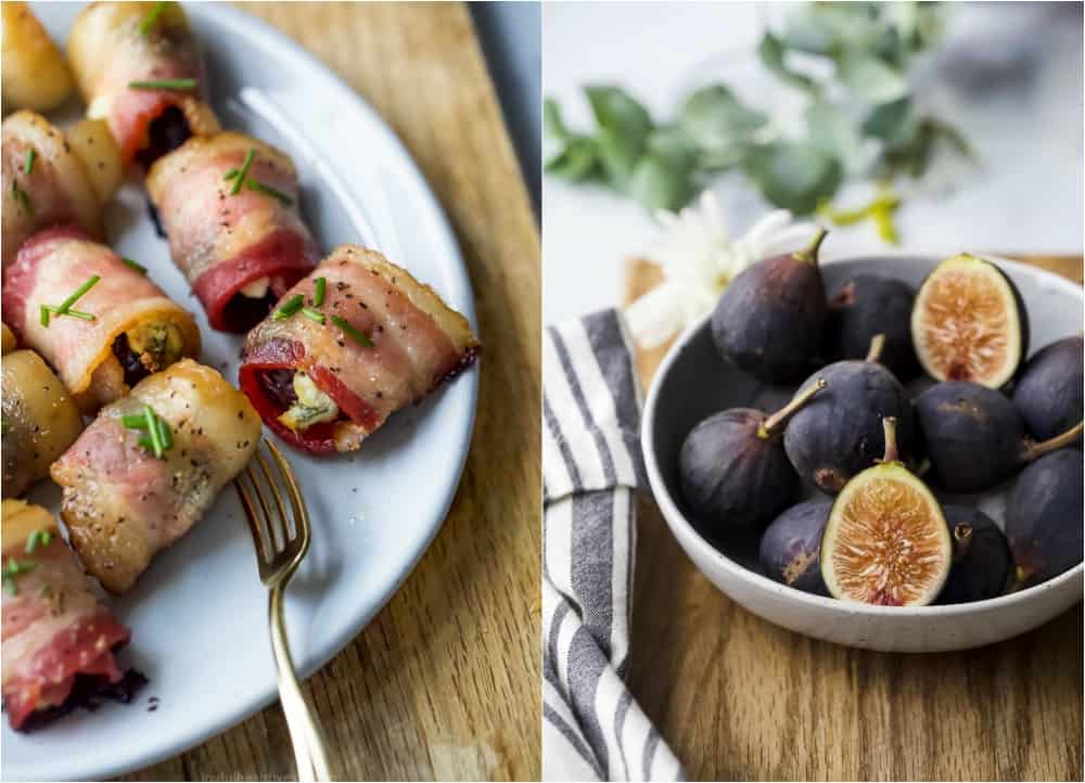 photo of finished bacon wrapped figs and a bowl of fresh figs