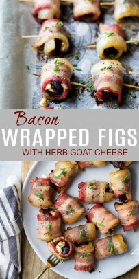 pinterest photo of bacon wrapped figs with herb goat cheese