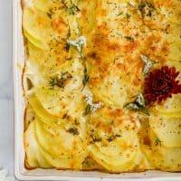overhead photo of healthy cheesy scalloped potatoes recipe