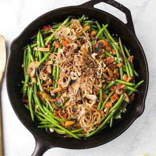 overhead photo of healthy green bean casserole
