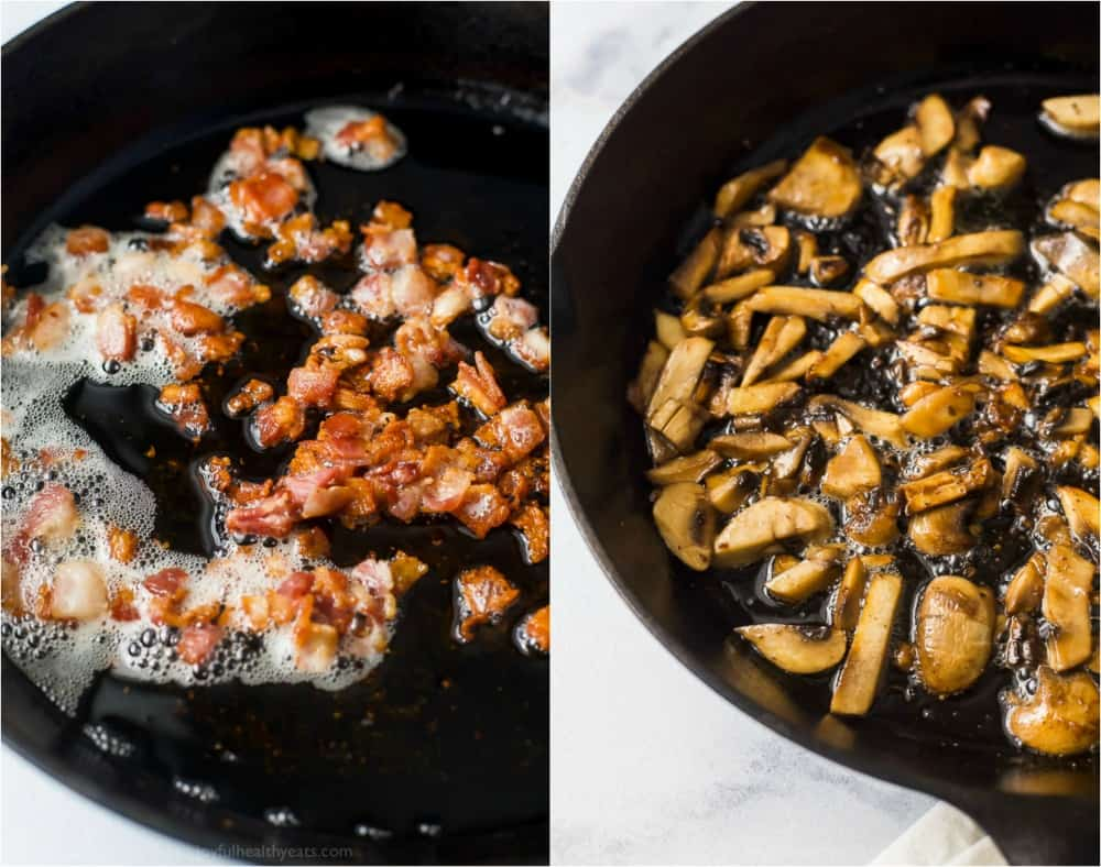 photos of bacon getting crispy and mushrooms browning