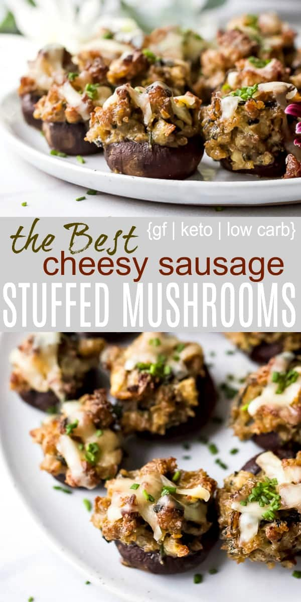 pinterest photo of cheesy sausage stuffed mushrooms on a plate