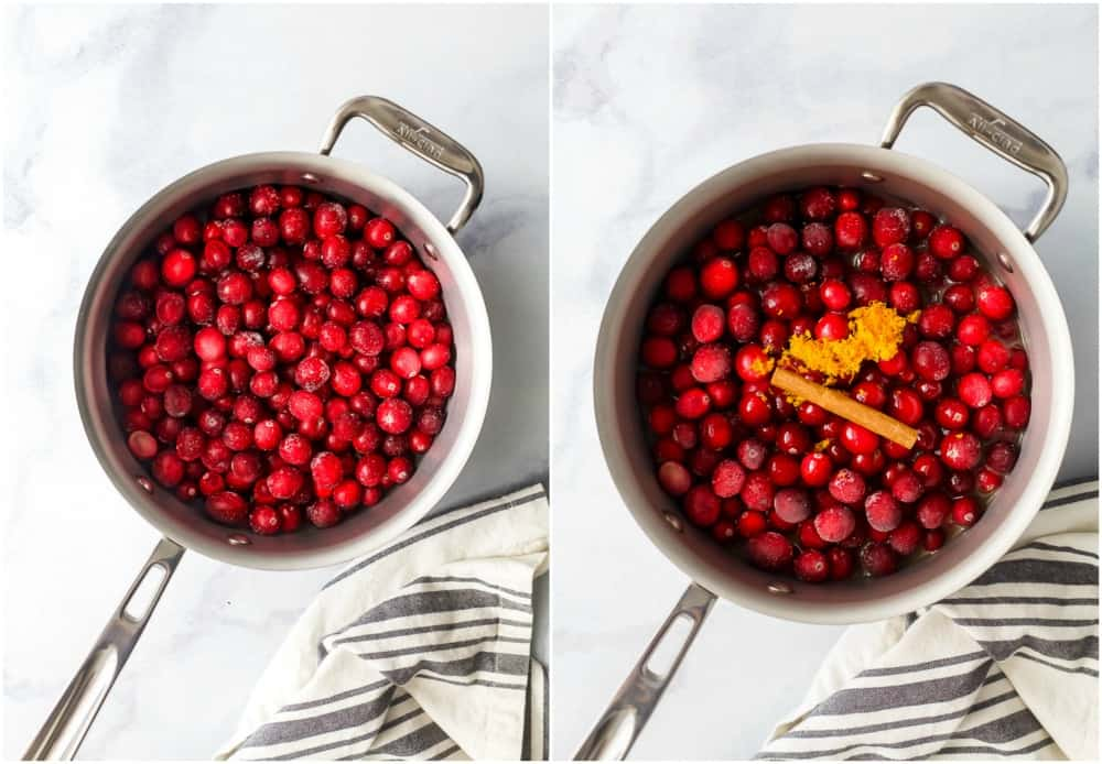 process photo of cranberry sauce being made