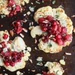 overhead photo of roasted cauliflower steaks with a cranberry apple chutney