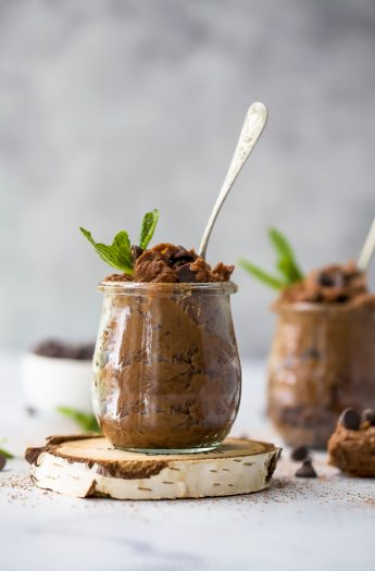 photo of vegan thin mint chickpea cookie dough in a jar