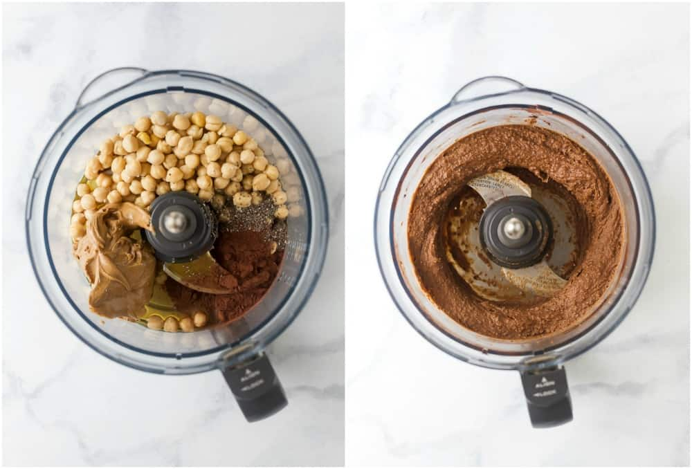 process photos of vegan thin mint chickpea cookie dough in a food processor