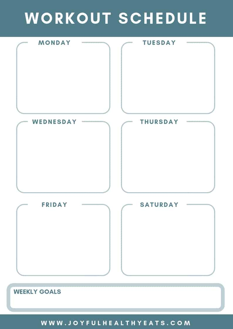 free printable for workout planner