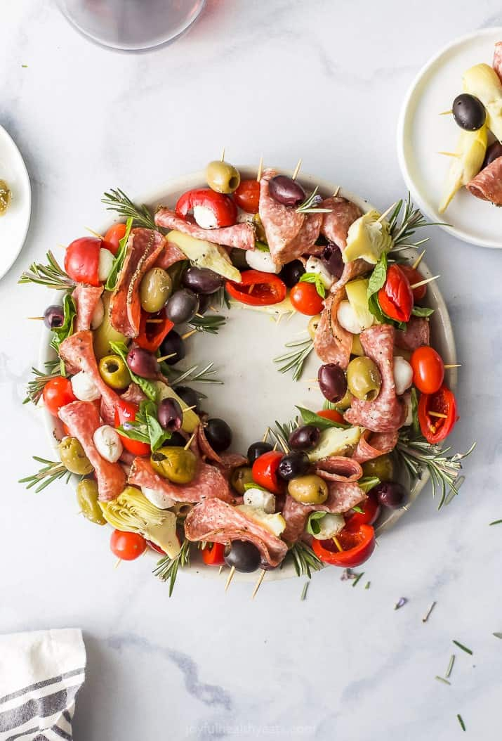 overhead photo of christmas wreath antipasto skewers