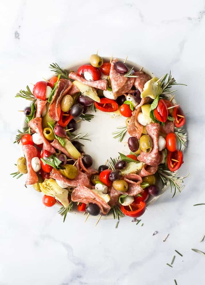 overhead photo of christmas wreath antipasto skewer