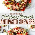 pinterest pin for christmas wreath antipasto skewers