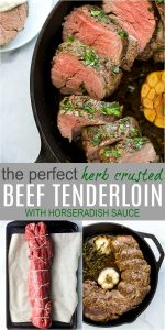 pinterest pin for easy herb crusted beef tenderloin with horseradish sauce