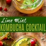 pinterest photo for lime mint kombucha cocktail