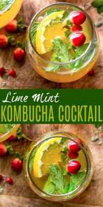 pinterest photo for lime mint kombucha cocktail