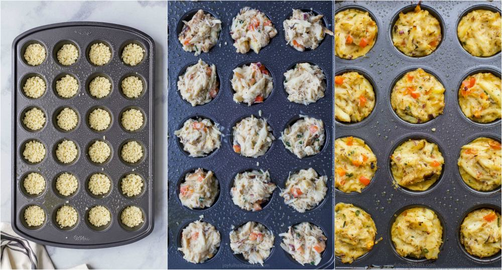 process photos of mini baked crab cakes being made