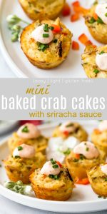 pinterest photo of mini baked crab cakes with sriracha sauce