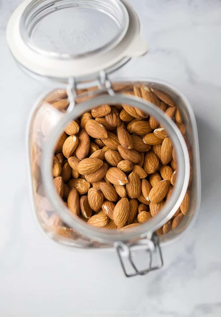 photo of raw almonds in a jar