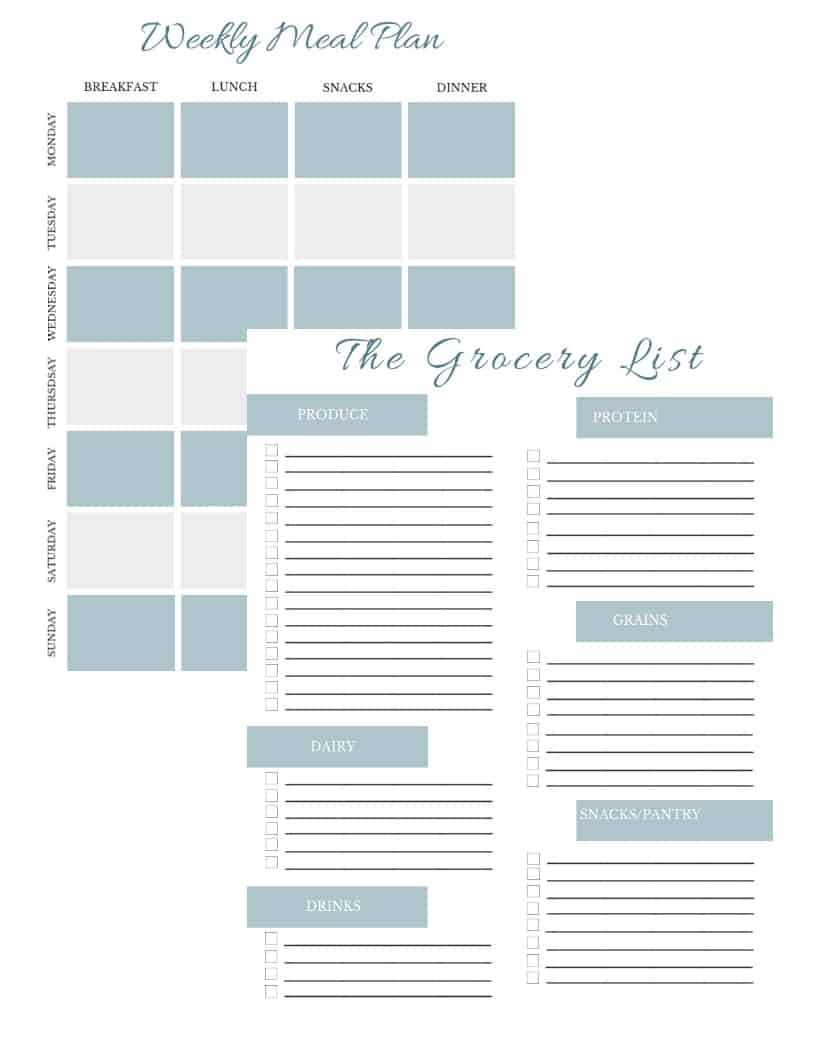 free printable for meal plan and grocery list