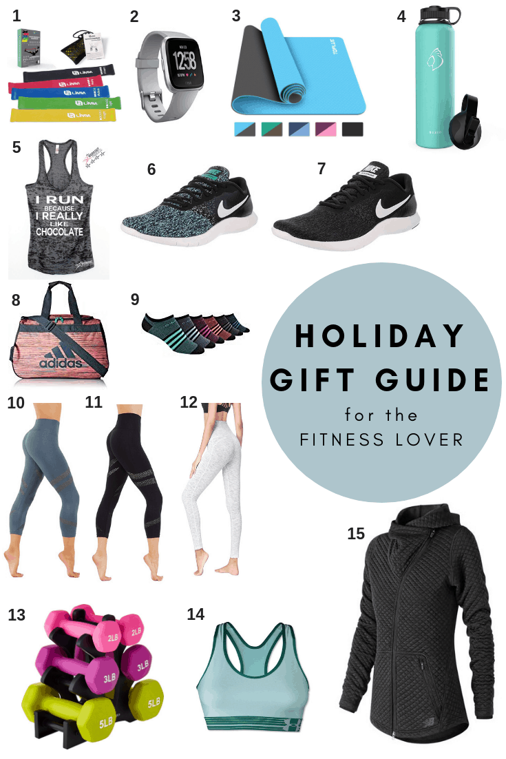 A Holiday Gift Guide for the Fitness lover, everything you need to kick your new year off with a healthy start! Yoga pants, sports bras, gym bags, high quality water bottles, and my favorite running shoes!