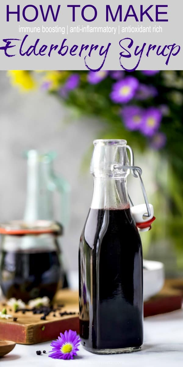 A Guide to Essential Oils + How to Make Elderberry Syrup Recipe pinterest graphic