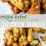 pinterest image of crispy chili lime baked chicken wings