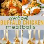 pinterest image for crock pot buffalo chicken meatballs recipe