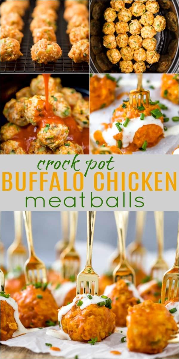 pinterest image for crock pot buffalo chicken meatballs