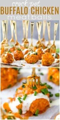 pinterest image for easy crockpot buffalo chicken meatballs