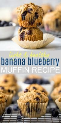 pinterest image for healthy banana blueberry muffins