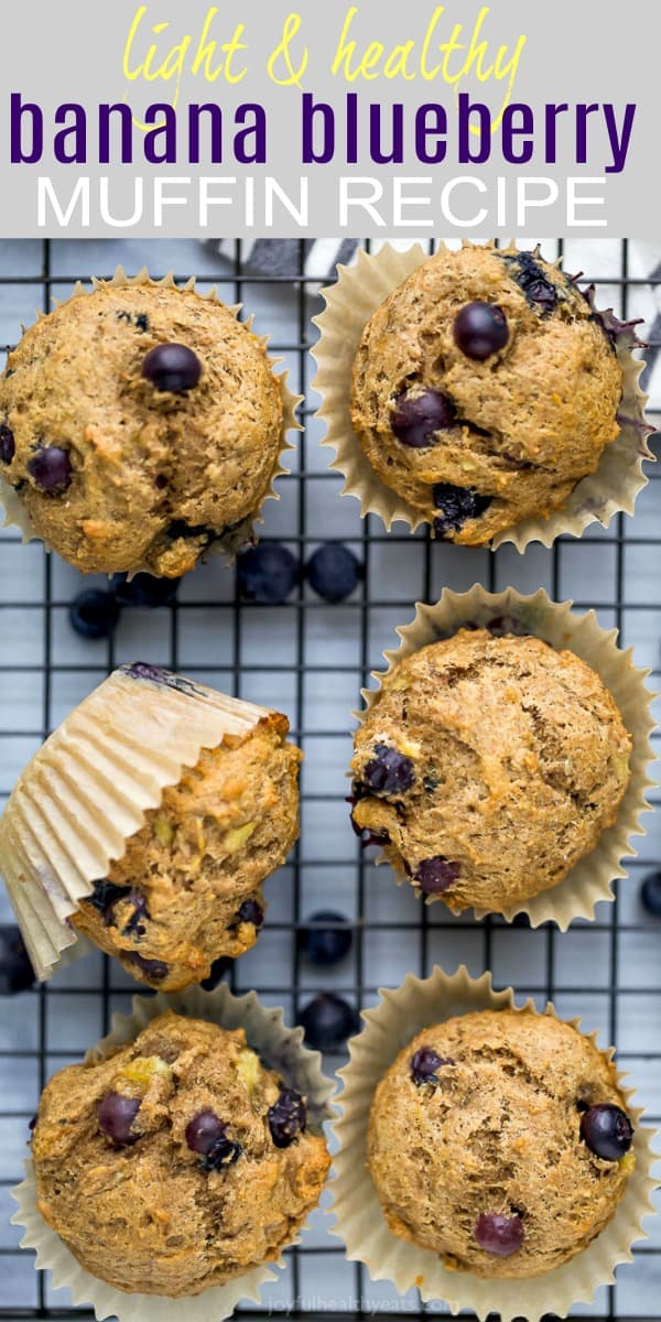 pinterest image for healthy banana blueberry muffin recipe