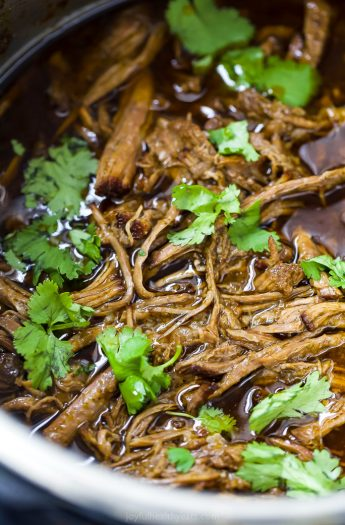 close up photo of healthy instant pot chipotle beef barbacoa