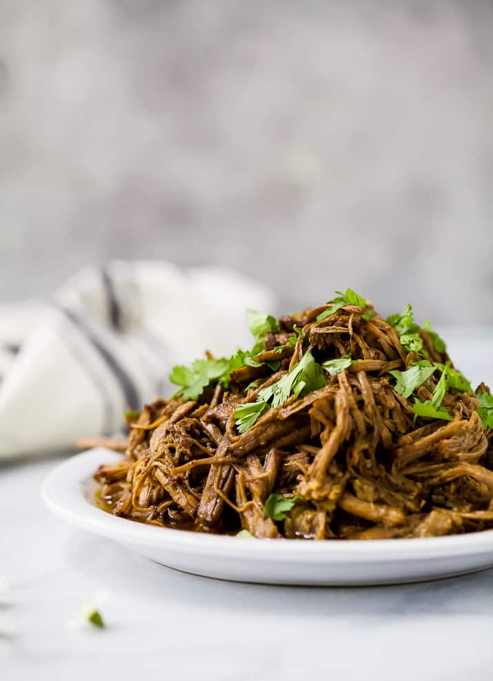 close up of healthy instant pot chipotle beef barbacoa
