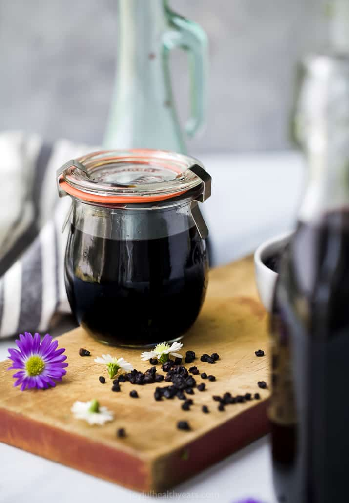 close up of homemade elderberry syrup